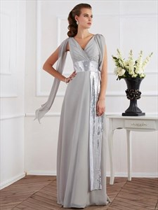 A Line Grey V Neck Sleeveless Chiffon Prom Dress With Belt And Cape