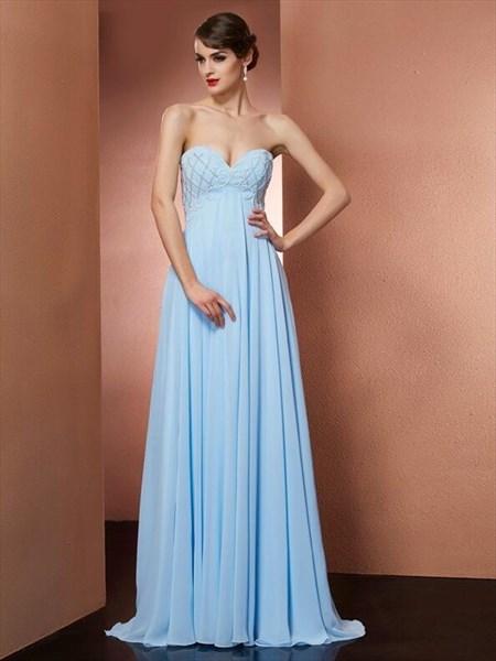 Light Blue Sweetheart Neckline Beaded Pleated Chiffon Prom Dress
