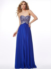 Royal Blue Sweetheart Sleeveless Chiffon Long Prom Dress With Sequin