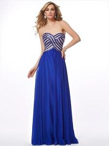 Royal Blue Sweetheart Sleeveless Chiffon Long Prom Dress With Sequin