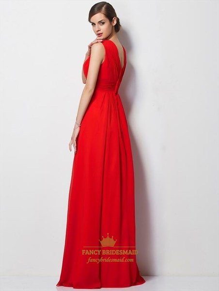 Elegant Red V Neck Sleeveless Chiffon Prom Dress With Rhinestones