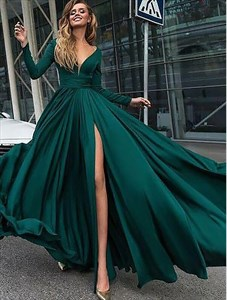 A Line Emerald Green V Neck Long Sleeve Ruched Prom Dress With Split