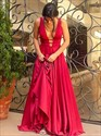 V Neck Sleeveless Illusion Back Floor Length Prom Dress With Train