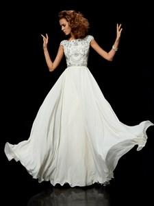 Simple Ivory Beaded Bateau Neckline Short Sleeve Chiffon Prom Dress