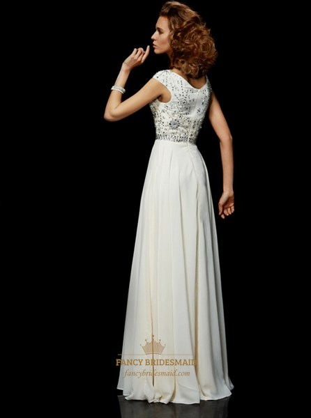 Simple Ivory Beaded Bateau Neckline Short Sleeve Chiffon Prom Dress