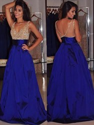 A Line Royal Blue V Neck V Back Sleeveless Beaded Taffeta Prom Dress