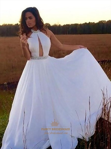 White Halter Neck Sleeveless Keyhole Beaded Waist Chiffon Prom Dress