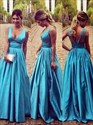 Aqua Blue V Neck Sleeveless Ruched Empire Waist A-Line Prom Dress