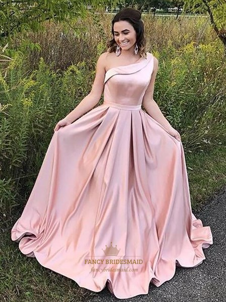 Simple Pink A Line One Shoulder Pleated Floor Length Satin Prom Dress