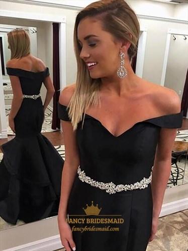 Black Off The Shoulder Mermaid Satin Prom Dress With Crystal Belt