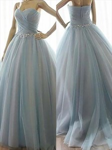 Sweetheart Beading Ruched Tulle Ball Gown Prom Dress With Train