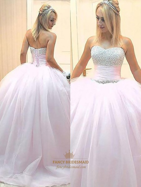 Light Pink Sweetheart Sleeveless Beaded Tulle Ball Gown Prom Dresses