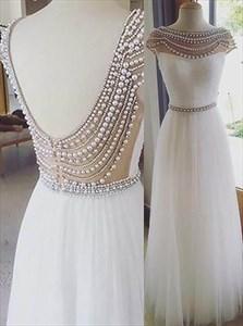 White Bateau Neckline V Back Beaded Cap Sleeve Long Tulle Prom Dress