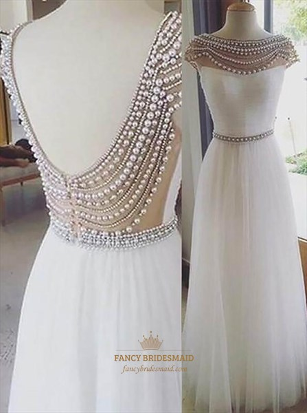White Bateau Neckline V Back Beaded Cap Sleeve Long Tulle Prom Dress