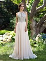 Light Pink High Neck Beaded Open Back Chiffon Prom Dress With Train