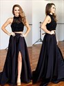 Dark Navy High Neck Sleeveless Two Piece Satin Prom Dress With Split