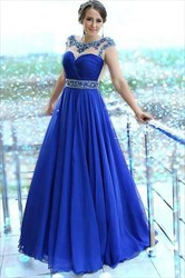 Royal Blue A Line Bateau Jeweled V Back Ruched Chiffon Prom Dress