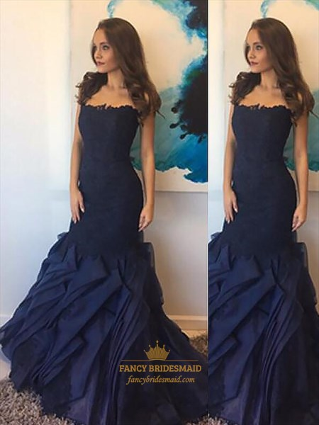 Navy Blue Strapless Sheath Long Prom Dresses With Ruffle And Applique