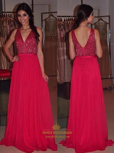 A Line Red V Neck Sleeveless Chiffon Long Prom Dress With Sequin Top