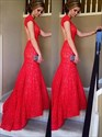 Red V Neck Backless Lace Overlay Sheath Mermaid Prom Dress With Train