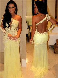 Yellow One Shoulder Illusion Back Sheath Prom Dress With Applique