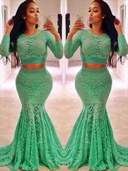Kelly Green Jewel Neck Long Sleeve Lace Mermaid Two Piece Prom Dress