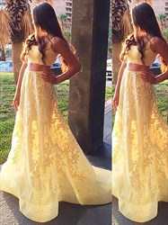 Yellow Square Neck Sleeveless Two Piece Prom Dress With Lace Applique
