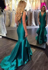 Blue V Neck Sleeveless V Back Mermaid Long Prom Dress With Ruffles