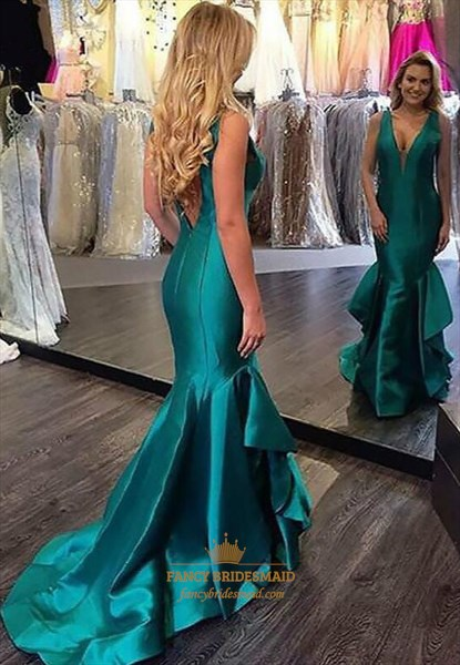 Blue V Neck Sleeveless V Back Mermaid Long Prom Dress With Ruffles