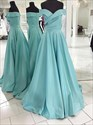 Light Blue Off The Shoulder Sleeveless Ruched Satin Long Prom Dresses