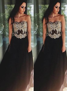 Brown Sweetheart Neckline Sleeveless Tulle Prom Dress With Applique