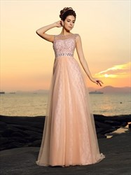 Pink Jeweled Bateau Neckline Sleeveless Tulle Floor Length Prom Dress