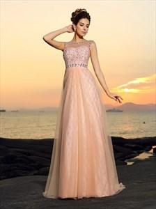 Pink Jeweled Bateau Neckline Sleeveless Tulle Floor Length Prom Dress