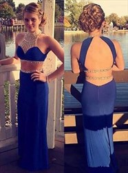 Royal Blue High Neck Beaded Backless Sheath Two Piece Prom Dress