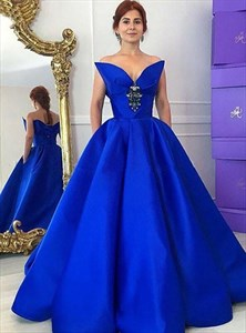 Royal Blue V Neck Sleeveless Satin Ball Gown Prom Dress With Crystals