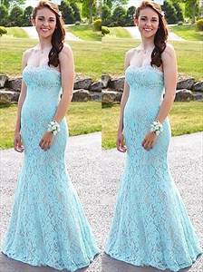 Simple Sky Blue Strapless Sleeveless Sheath Lace Overlay Prom Dresses