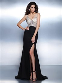 Black V Neck Beaded Bodice V Back Chiffon Maxi Prom Dress With Split