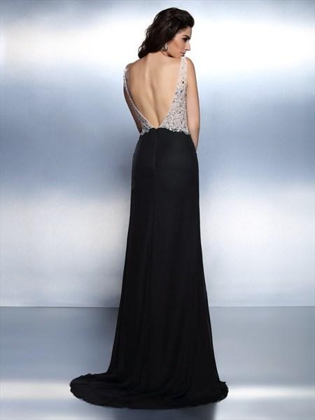 Black V Neck Beaded Bodice V Back Chiffon Maxi Prom Dress With Split