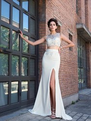 Ivory Bateau Neckline Beaded Chiffon Two Piece Prom Dress With Split