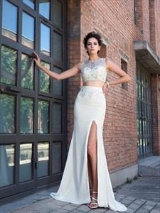 Ivory Bateau Neckline Beaded Chiffon Two Piece Prom Dress With Split