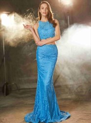 Elegant Aqua Blue Bateau Sleeveless Sheath Lace Two Piece Prom Dress