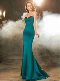 Dark Green Sweetheart Neckline Satin Mermaid Prom Dress With Train