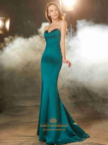 Dark Green Sweetheart Neckline Satin Mermaid Prom Dress With Train