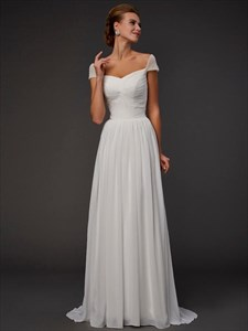 Ivory Square Neck Cap Sleeve Ruched Chiffon Prom Dress With Train