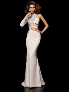 One Sleeve High Neck Beaded Side Cutout Sheath Prom Dress With Pleats