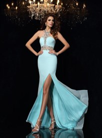 Aqua Blue Halter Neck Beaded Sleeveless Chiffon Maxi Dress With Split