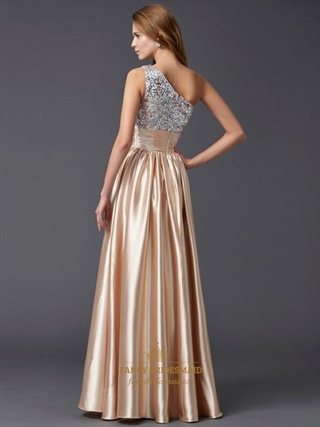 Elegant Champagne One Shoulder Pleated Taffeta Prom Dress With Sequin