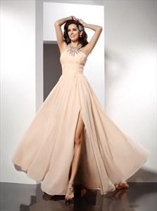Light Pink High Neck Ruched Crystal Embellished Prom Dress With Split
