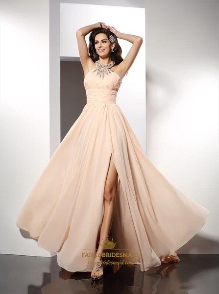 Light Pink High Neck Ruched Crystal Embellished Prom Dress With Split