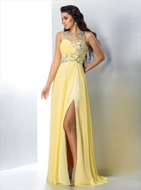 A Line Yellow Bateau Neckline Crystals Chiffon Prom Dress With Split